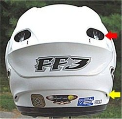 OGK FF-3 motorcycle helmet rear view