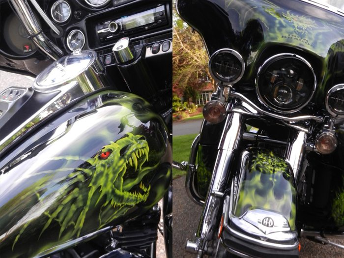 Glare Polish on Harley Close-up