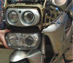 Comparison of Ducati Designs headlight with stock Ducati headlight