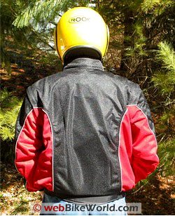 MotoAir motorcycle airbag jacket, rear view.