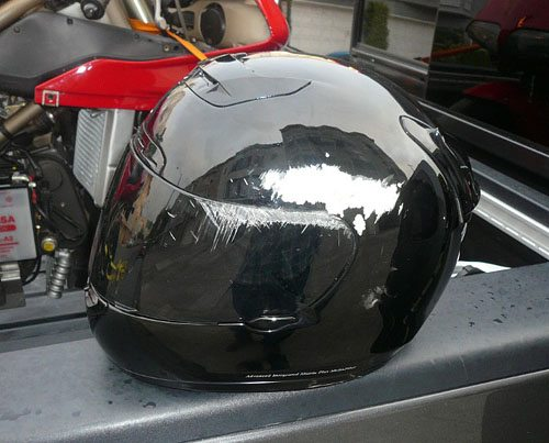 Shoei helmet after crash.