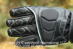 Waterproof motorcycle riding gloves, back side view.