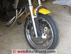 Motorcycle lock on wheel
