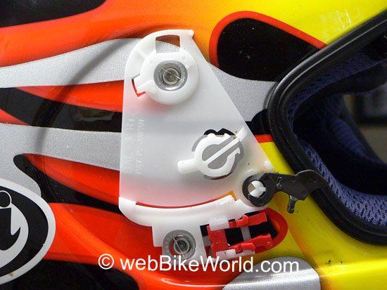Complicated Arai visor lifting mechanism