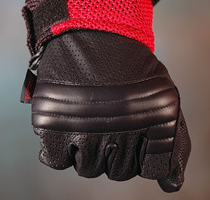 Tourmaster gloves, view of knuckle protection