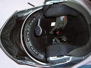 Autocom speakers and microphone installed on Caberg helmet, bottom view