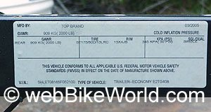 U.S. safety standards labeling information for motorcycle cargo trailers