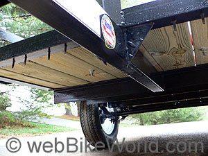 Motorcycle cargo trailer underside framing