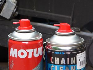 Motul and Motorex chain cleaner spray cans