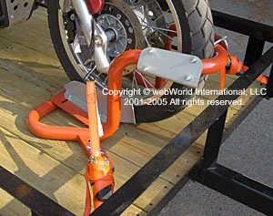 Motorcycle trailer front wheel chock - the Bike Grab