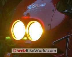 Yellow Nokya headlight on