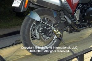 Tyre Down motorcycle trailer tie down system