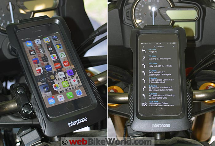 Interphone Pro Case for iPhone on Motorcycle