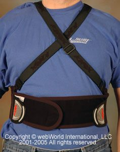 Knox Stowaway Back Protector, front view with crossed straps