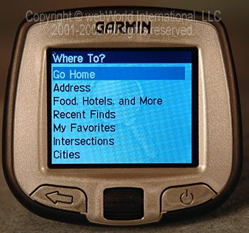 "Garmin i5 - Details of ""Where To?"" screen"