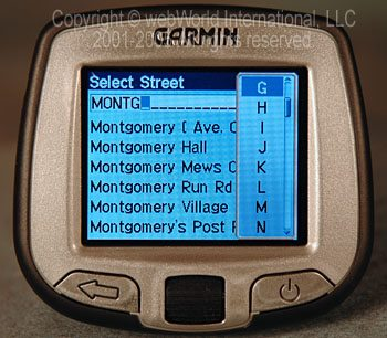 Selecting a street address with the Garmin i5