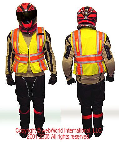 Motorcycle Rider Wearing Safe Lites BeaconWear Lighted Safety Vest