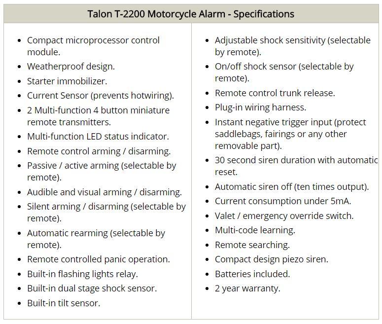 Talon Alarm Specifications