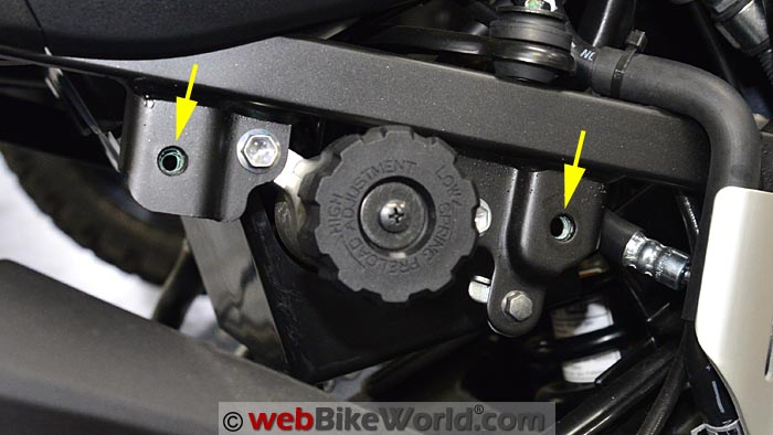 Suzuki V-Strom Passenger Foot Peg Mounts Removed
