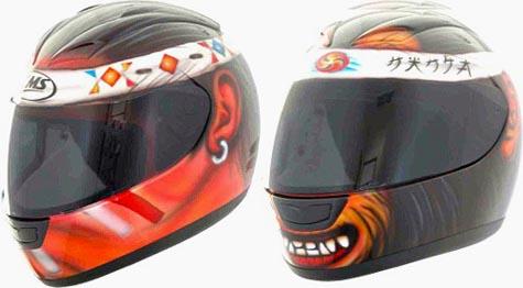 CMS motorcycle helmet Indian Hairbrush and Ninja Hairbrush