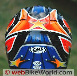 CMS GP-4 motorcycle helmet, rear view