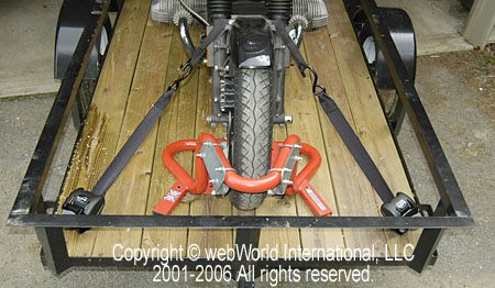 Motorcycle trailer with Cargo Buckles installed
