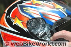 CMS GP-4 motorcycle helmet - quick release visor mechanism