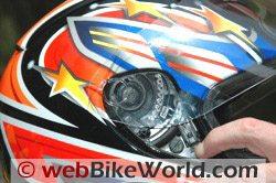 CMS GP-4 motorcycle helmet - quick release visor mechanism
