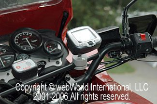 Side View of Garmin GPS Mount on Triumph Tiger