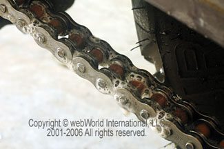 Permatex Chain Lube after spraying motorcycle chain