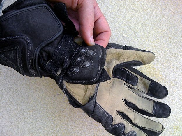 Gloves after crash