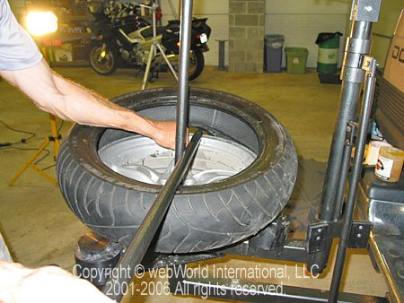 Motorcycle Tire Changer - Removing Tire From Wheel