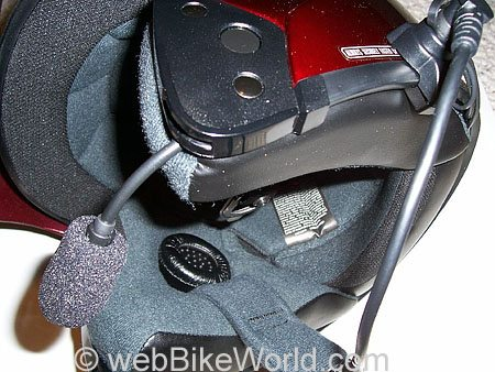 J&M Motorcycle Intercom Mounted on HJC Helmet
