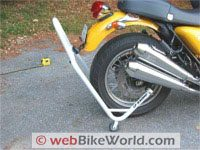 Motorcycle rear stand on Triumph