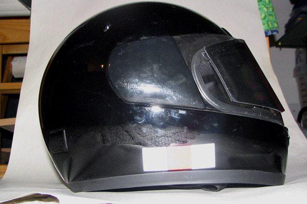Reflective tape on helmet