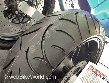Bridgestone BT-002 Rear Motorcycle Tire Close-up