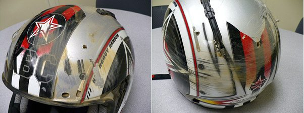 KBC Force RR Helmet Damage