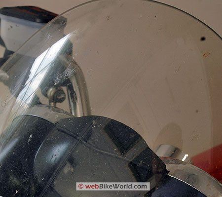 KPC Speed-Cleaner - Motorcycle windshield before cleaning