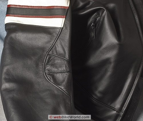 "Furygan ""Fighter"" Leather Motorcycle Jacket - Arm Styling Detail"