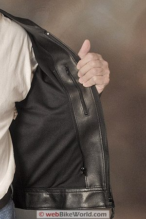 "Furygan ""Fighter"" Leather Motorcycle Jacket - Lining, Pocket and Removable Insulation Zipper"
