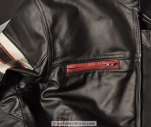 "Furygan ""Fighter"" Leather Motorcycle Jacket - Upper Chest and Zipper"