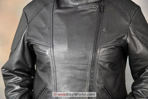 Women's Deerskin Motorcycle Jacket - Close-up of Closed Front