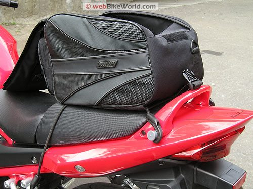 Rapid Transit Motorcycle Tail Bag - Rear View on Motorcycle