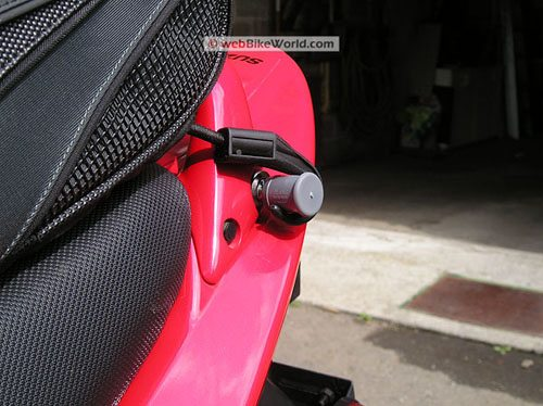 Rapid Transit Motorcycle Tail Bag - Bungee Hook Close-up