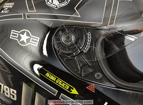 Akuma Stealth Helmet - Visor Rotating and Removal Mechanism