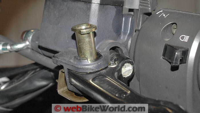 Close-up of Rotating Pin on Original Equipment Clutch Lever