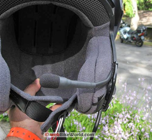 StarCom1 Advance motorcycle intercom, microphone mounted in helmet
