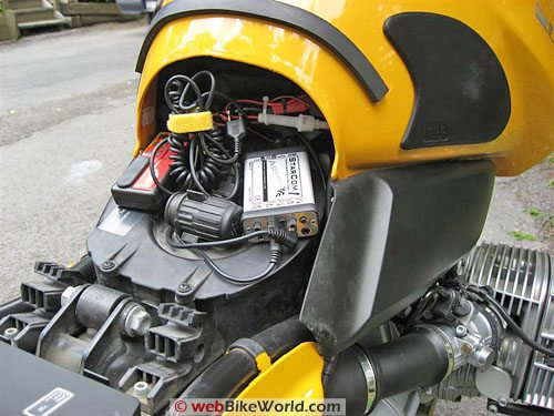 StarCom1 Advance motorcycle intercom installed on a BMW R1150GS
