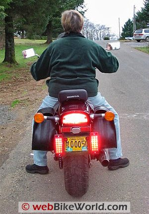 Motorcycle Auxiliary LED Brake Light - Lights On