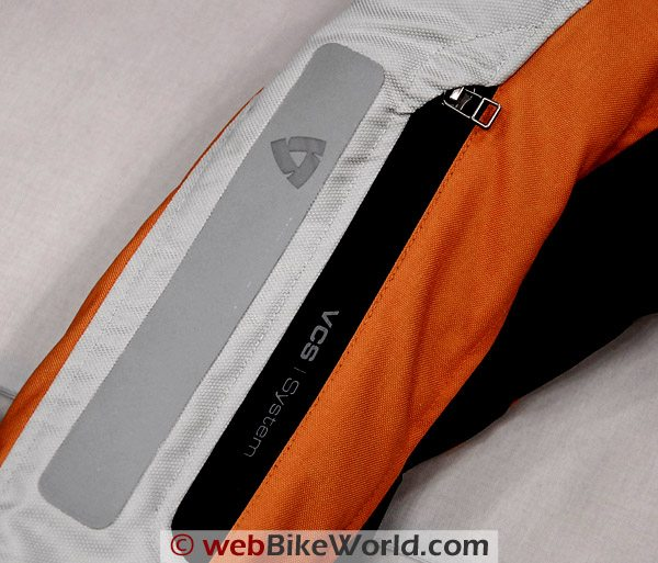 Rev'it Cayenne Pro sleeve, showing waterproof zipper and laminated and bonded reflective material.
